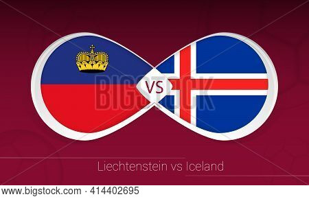 Liechtenstein Vs Iceland In Football Competition, Group J. Versus Icon On Football Background. Vecto