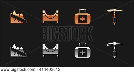 Set Mountain Descent, Skate Park, First Aid Kit And Ice Axe Icon. Vector