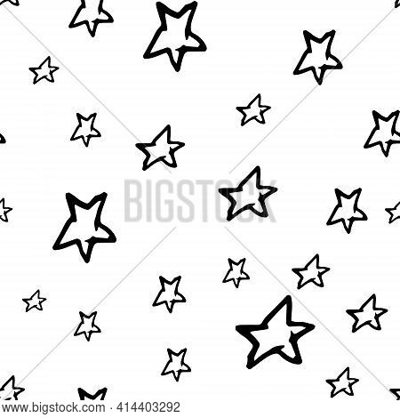 Star Vector Hand Drawn Seamless Pattern. Simple Starry Sky Background Print For Fabric, Textile, Wra