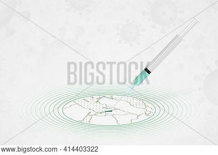 Lebanon Vaccination Concept, Vaccine Injection In Map Of Lebanon. Vaccine And Vaccination Against Co