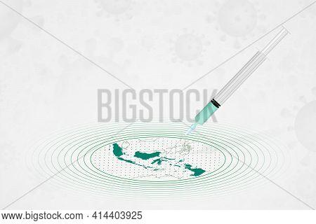 Indonesia Vaccination Concept, Vaccine Injection In Map Of Indonesia. Vaccine And Vaccination Agains