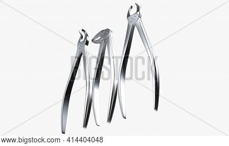 A Set Of Various Steel Dentists Plier Tools On An Isolated White Studio Background - 3d Render