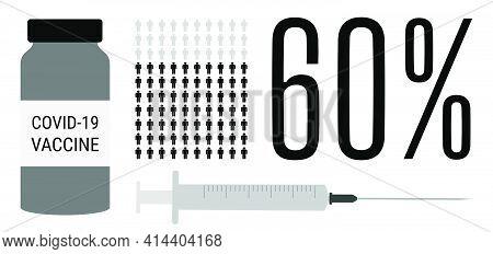 Covid-19 Vaccination Process. 60 Percent Of Vaccinated Population. Coronavirus Vaccine People Progre