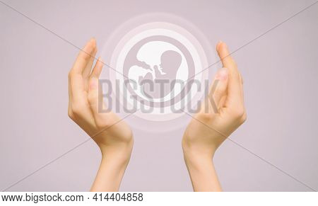 Two Female Hands Hold An Icon Of A Human Embryo. Close-up, Pink Isolated Background. The Concept Of