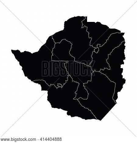 Zimbabwe Country Map Vector With Regional Areas