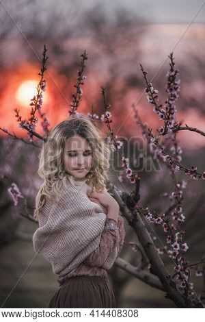 Young Beautiful Curly Blonde Woman In Brown Pleated Skirt Pink Blouse Covered Shoulders With Knitted