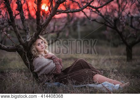 Young Beautiful Curly Blonde Woman In Brown Pleated Skirt, Pink Blouse, Covered Shoulders With Knitt