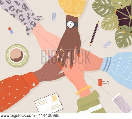 Stack Of Female Hands. Unity And Teamwork Concept. Arms Of Successful Business Women. Partnership Co