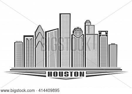 Vector Illustration Of Houston, Monochrome Horizontal Poster With Outline Design Of Houston City Sca