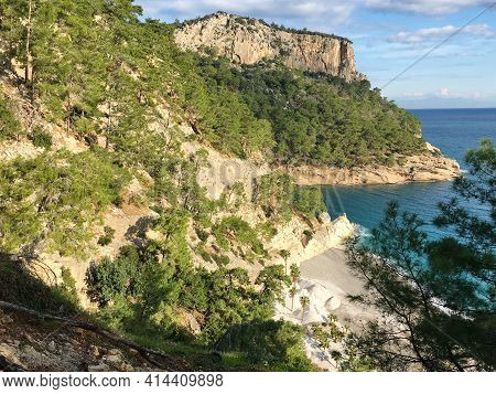 Wonderful View Of A Beautiful Place Of Nature, Mountains Covered With Plants, Trees, Rocks, Near The