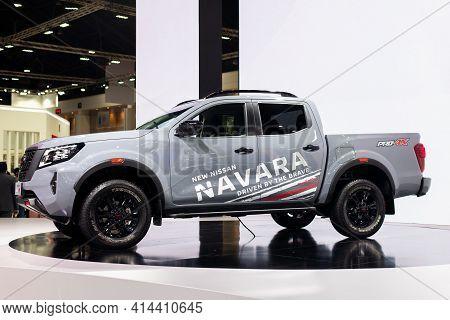 Nonthaburi, Thailand - March 25,2021 : View Of Nissan Navara Car On Display At Thailand Internationa