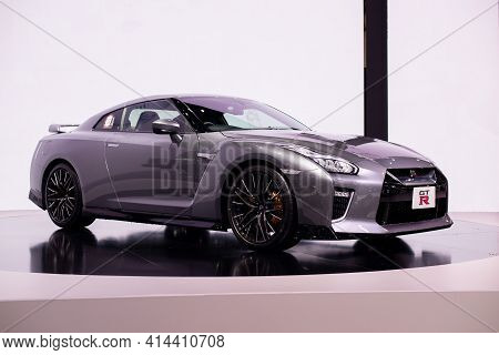 Nonthaburi, Thailand - March 25,2021 : View Of Nissan Gt-r Car On Display At Thailand International