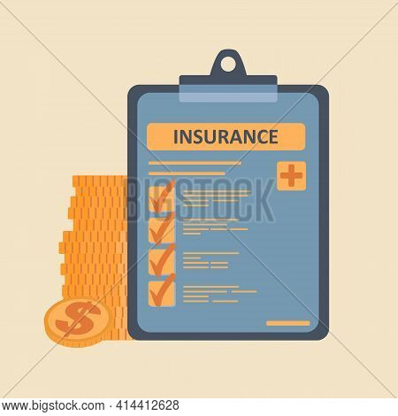 Flat Cartoon Vector Illustration Of Health Insurance Contract Or Insurance Policy And Coins Stack. H