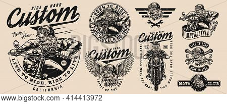 Vintage Custom Motorcycle Designs Set With Letterings Crossed Wrenches Dangerous Eagle Bikers And Mo