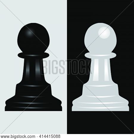 Pawn Black And White Chess Piece Vector Illustration
