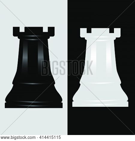 Rook Black And White Chess Piece Vector Illustration