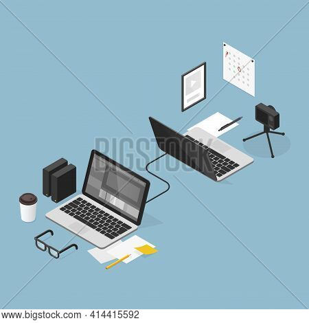 Vector Isometric Video Editing Outsourcing Concept Illustration. Two Workspaces - Video Bloggers Wor