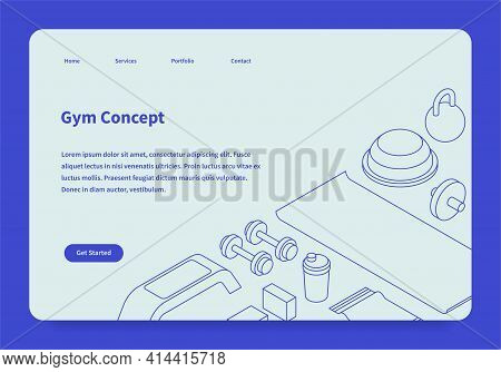 Vector Gym Homepage With Isometric Illustration. Sport Equipment - Dumbbells, Ab Wheel, Mat, Towel,