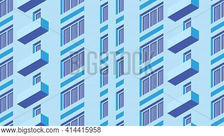 Vector Isometric Building Facade Detailed Architecture Illustration. Fragment Of City Building Facad