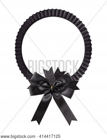 Black Wooden Frame With Black Mourning Bow For Paintings, Mirrors Or Photo Isolated On White Backgro