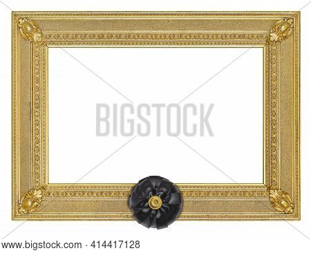 Golden Frame With Black Mourning Bow For Paintings, Mirrors Or Photo Isolated On White Background