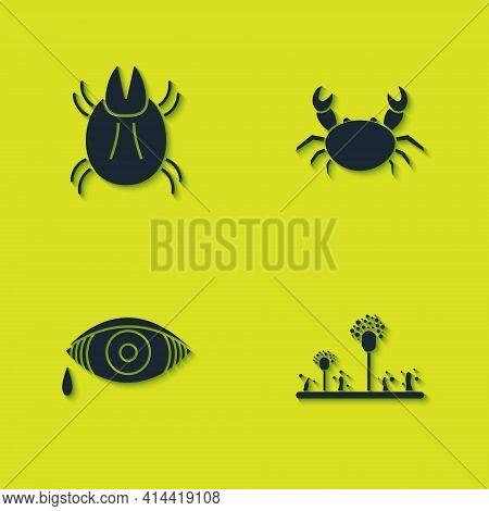 Set Parasite Mite, Mold, Reddish Eye Allergic Conjunctivitis And Crab Icon. Vector