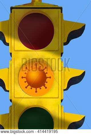 A Coronavirus Particle Is Seen In The Caution Light Of A Traffic Light. This Is A 3-d Illustration A