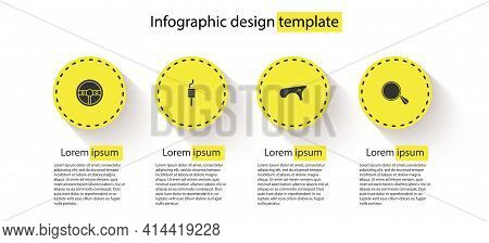 Set Steering Wheel, Car Muffler, Fender And Mirror. Business Infographic Template. Vector