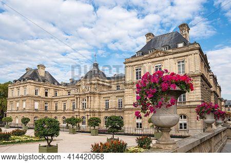 View To The Castle Palais Du Luxembourg In Paris, France.