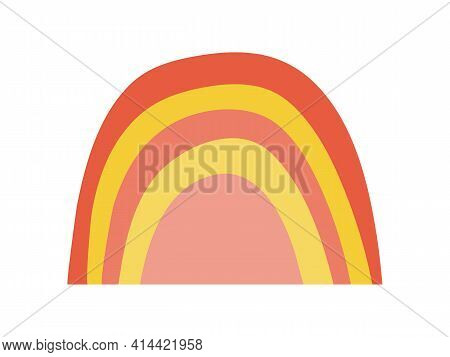 Hand Drawn Colored Minimalist Boho Rainbow. Cute Rainbow For Baby Cards And Posters. Stock Vector Il