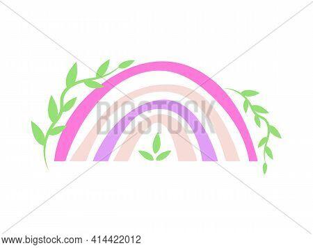 Hand Drawn Colored Minimalist Boho Rainbow With Branches. Boho Nursery Rainbow Print, Children's Ele