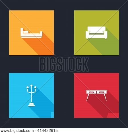 Set Bed, Sofa, Coat Stand And Office Desk Icon. Vector
