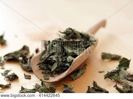 Peppermint Herbal Mint Tea Loose In Wooden Scoop Shovel