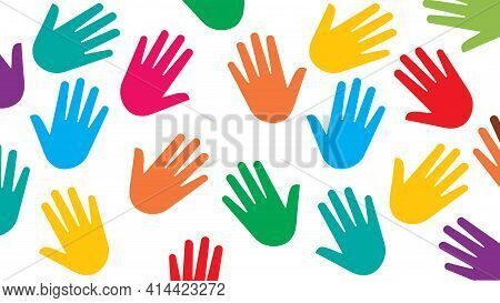 Hands With Different Skin Colors: Green, Red, Blue, Yellow. White Background. Vector Illustration. C