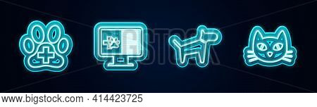 Set Line Veterinary Clinic, Clinical Record Pet On Monitor, Dog And Cat. Glowing Neon Icon. Vector
