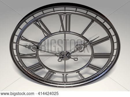 A Concept Antique Tower Clock Made Of An Iron Frame And Design With A Glass Backing On An Isolated S