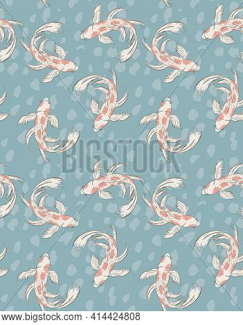 Koi Fish Seamless Vector Pattern. White Hand Drawn Fishes With Red Spots Isolated On A Turquoise Spo