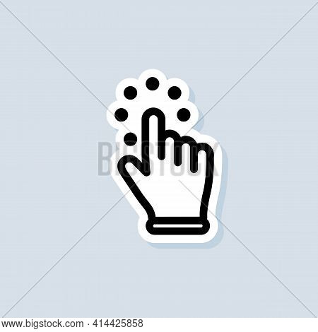 Clicking Cursor Sticker. Hand Cursor Icon. Vector On Isolated White Background. Eps 10.