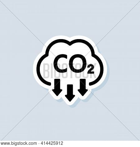 Co2 Sticker. Carbon Dioxide Emissions Icon Or Logo. Co2 Emissions. Vector On Isolated White Backgrou