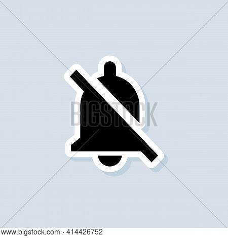 Mute Bell Sticker. Alarm Off, Bell Ring Icon. Notification Bell Icon For Incoming Inbox Message. Bel