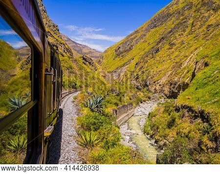 Impressive View Of Devil's Nose Train Running On Beautiful Andean Landscape, Alausi, Ecuador
