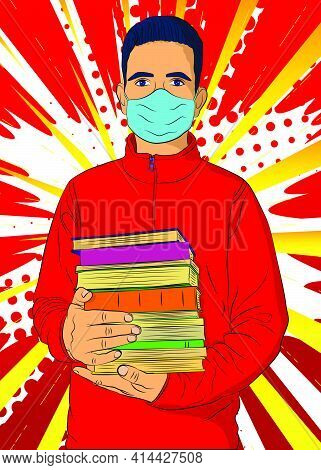 Male Student, Boy Carrying A Stack Of Books, Wearing Face Mask. College University Or High School Sc