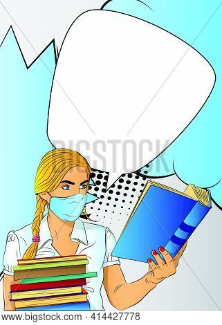 Female Student, Girl Carrying A Stack Of Books And Reading, Wearing Face Mask. College University Or