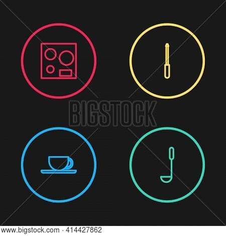Set Line Coffee Cup, Kitchen Ladle, Knife Sharpener And Electric Stove Icon. Vector