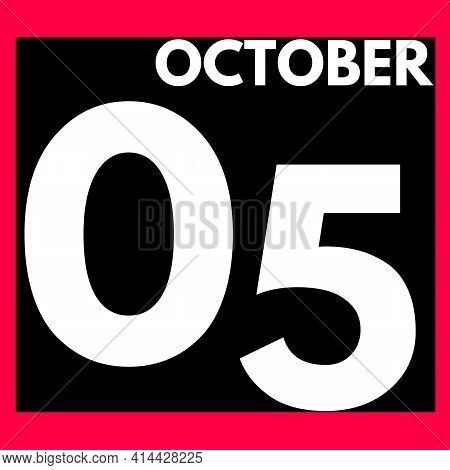 October 5 . Modern Daily Calendar Icon .date ,day, Month .calendar For The Month Of October