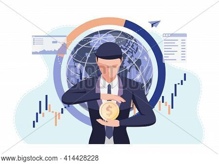Businessman Holding Dollar Coin In His Hand. Money Protection And Financial Concept.