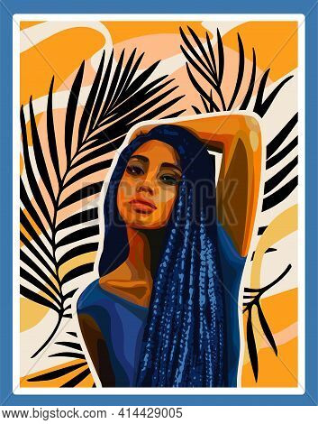 Vector Fashion Afro Girl Art Poster Print African American Woman Painting Floral Tropical Exotic Dra