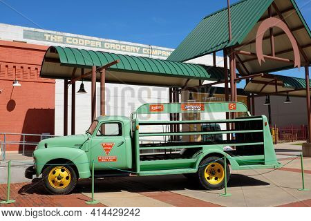 WACO, TEXAS - MARCH 19, 2018: Antique delivery truck at the Dr Pepper Museum and Free Enterprise Institute.