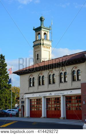 WESTFIELD, NEW JERSEY - 02 NOV 2019: The Westfield Fire Department Headquarters, in the historic downtown area.