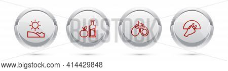 Set Line Beach, Apple Cider Bottle, Castanets And Fan Flamenco. Silver Circle Button. Vector